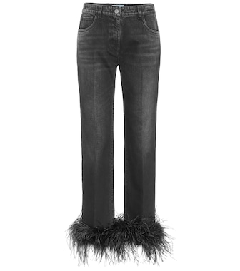 Prada - High-rise feather-trimmed jeans - mytheresa.com