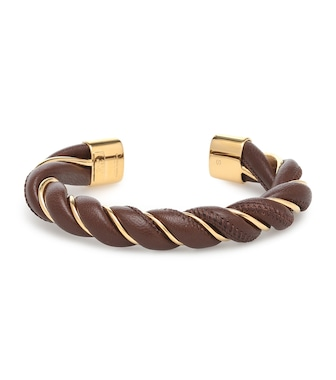 Bottega Veneta - Leather and sterling silver bracelet - mytheresa.com
