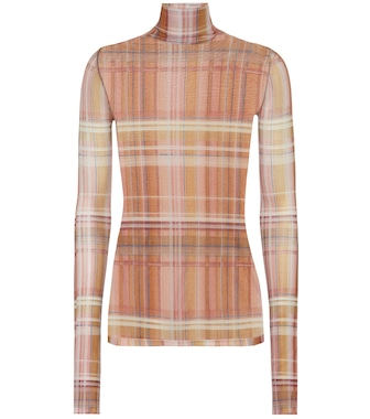 Acne Studios - Top à col roulé semi-transparent Madras - mytheresa.com