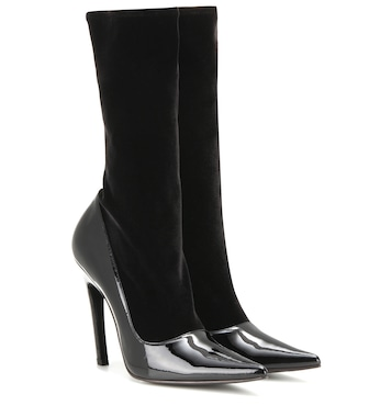 Balenciaga - Velvet and patent leather boots - mytheresa.com