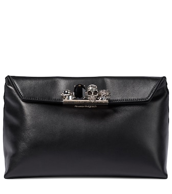 Alexander McQueen - Four Ring leather clutch - mytheresa.com