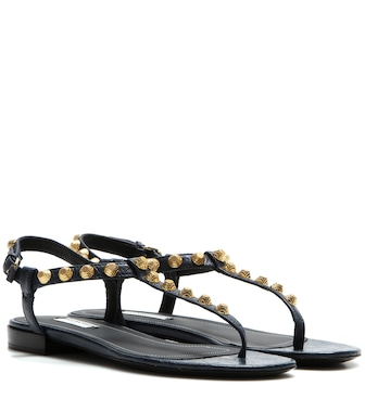 Balenciaga - Giant Stud leather sandals - mytheresa.com