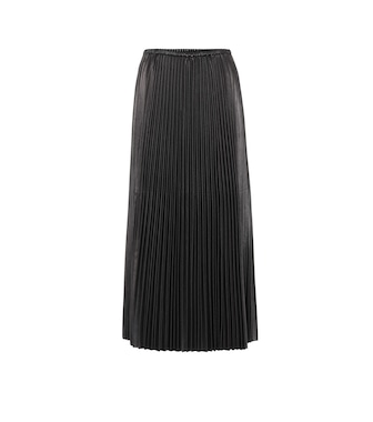 Valentino - Pleated leather midi skirt - mytheresa.com