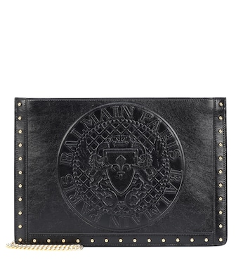 Balmain - Domaine embossed leather clutch - mytheresa.com