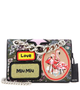 Miu Miu - Jacquard bag with appliqué - mytheresa.com