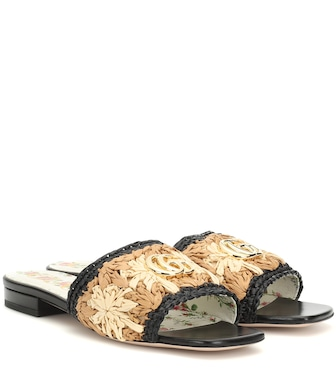 Gucci - Floral raffia and leather sandals - mytheresa.com