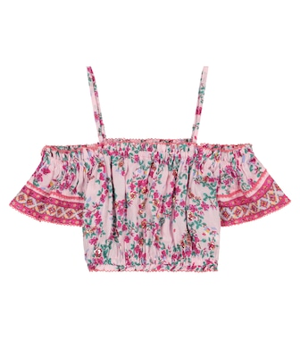 Poupette St Barth Kids - Donna floral off-shoulder top - mytheresa.com