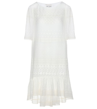 Saint Laurent - Broderie anglaise silk-blend dress - mytheresa.com