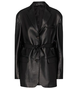 Acne Studios - Belted leather blazer - mytheresa.com