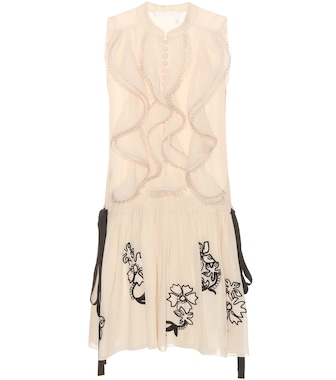 Chloé - Embroidered silk dress - mytheresa.com
