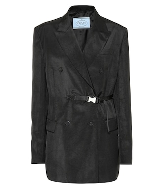 Prada - Belted double-breasted blazer - mytheresa.com