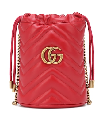 Gucci - GG Marmont Mini leather bucket bag - mytheresa.com