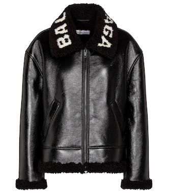 Balenciaga - Logo shearling and leather jacket - mytheresa.com