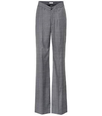 Balenciaga - Checked wool and silk pants - mytheresa.com