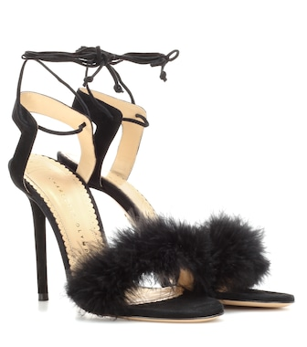 Charlotte Olympia - Salsa 110 feather-trimmed suede sandals - mytheresa.com