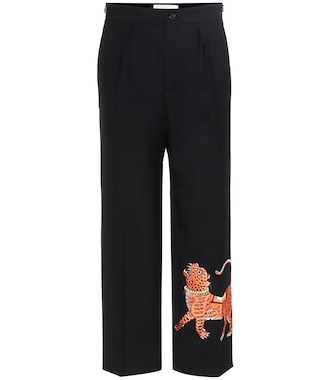 Gucci - Embroidered ankle-length trousers - mytheresa.com