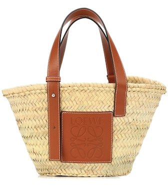 Loewe - Small leather-trimmed basket tote - mytheresa.com