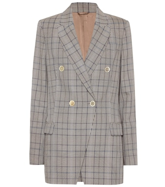 Brunello Cucinelli - Checked wool and cotton blazer - mytheresa.com