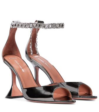 Amina Muaddi - x AWGE Flacko metallic leather sandals - mytheresa.com