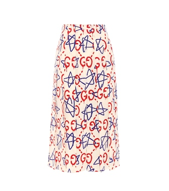 Gucci - GucciGhost pleated printed silk midi skirt - mytheresa.com