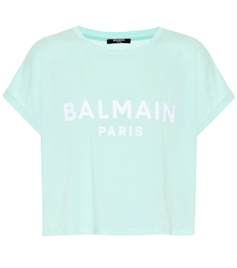 Balmain - Cropped logo cotton T-shirt - mytheresa.com