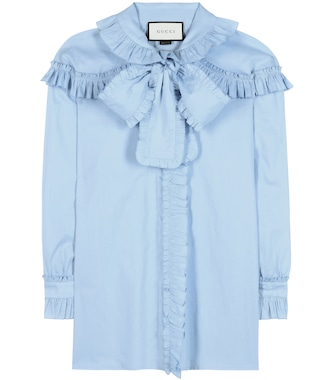 Gucci - Ruffled cotton blouse - mytheresa.com