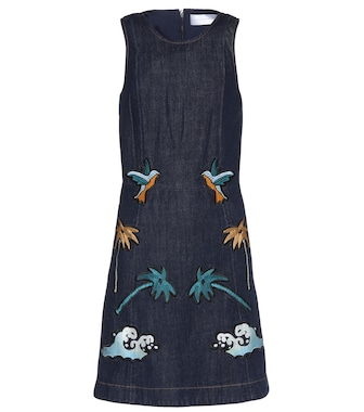Victoria Victoria Beckham - Embroidered denim mini dress - mytheresa.com