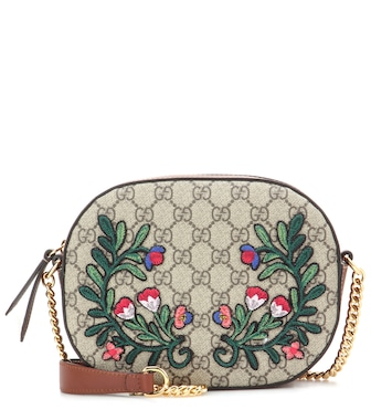 Gucci - GG embroidered coated canvas and leather shoulder bag - mytheresa.com