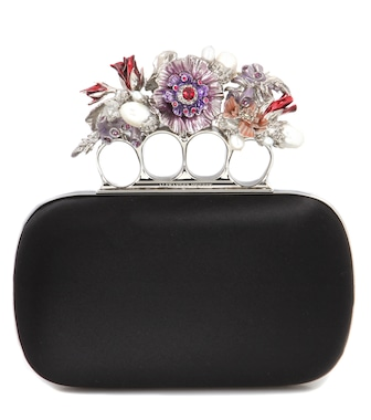 Alexander McQueen - Knuckle Short embellished silk-satin box clutch - mytheresa.com