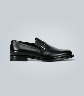 Fendi - Leather loafers with logo - mytheresa.com