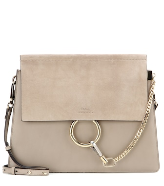 Chloé - Faye leather and suede shoulder bag - mytheresa.com