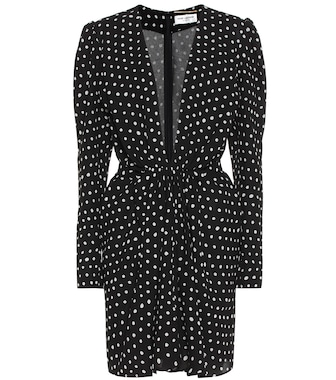 Saint Laurent - V-neck polka dot dress - mytheresa.com