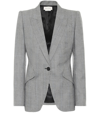 Alexander McQueen - Checked wool and cashmere blazer - mytheresa.com