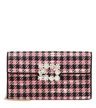 Roger Vivier - Flower Buckle houndstooth clutch - mytheresa.com