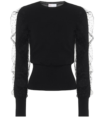 REDV - REDValentino tulle-trimmed sweater - mytheresa.com