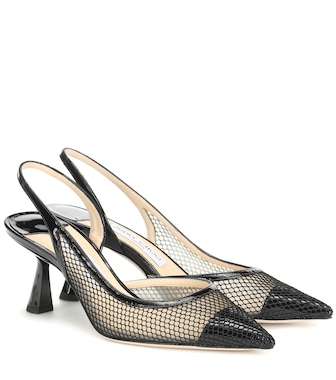 Jimmy Choo - Fetto 65 mesh and leather pumps - mytheresa.com