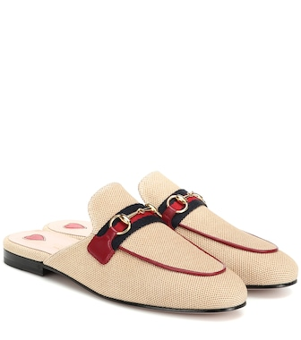 Gucci - Princetown canvas slippers - mytheresa.com
