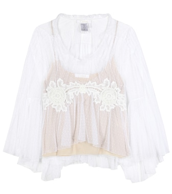 Chloé - Lace-trimmed tulle blouse - mytheresa.com