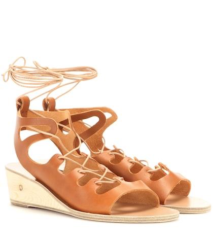 ancient greek sandals female antigone leather wedge sandals