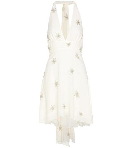 saint laurent female beaded silk dress