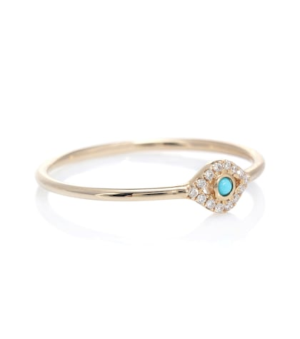 sydney evan female small bezel evil eye 14kt yellow gold ring with diamonds and turquoise
