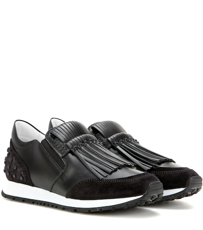 tods female sportivo frangia leather sneakers