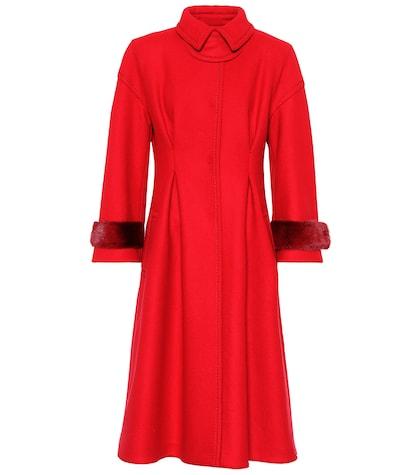 Wool-blend coat with mink fur
