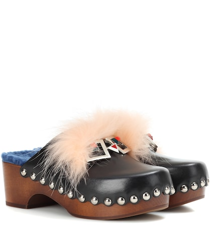 fendi female embellished leather clogs