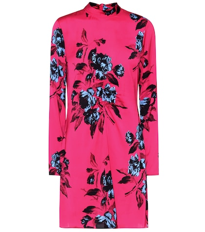 Floral-printed satin dress