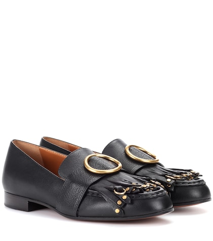 Embellished leather loafers