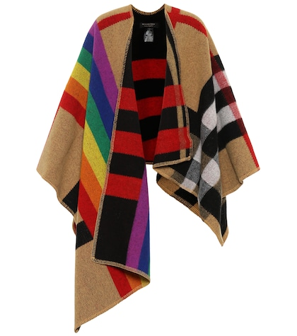 Cashmere and wool poncho