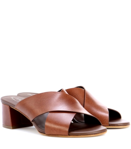 tods female leather slipon sandals