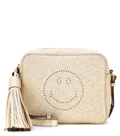 Smiley metallic leather crossbody