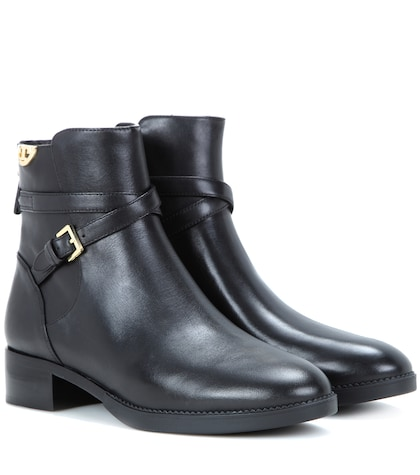 Sidney Embellished Leather Ankle Boots